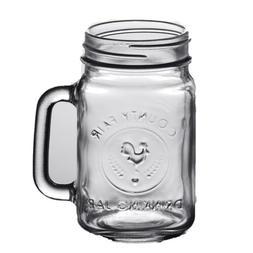 24/Pack Mason Jar with Handle 16oz. County Fair Vintage Drin