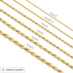 Gold Plated Stainless Steel Rope Chain Necklace Bracelet Men