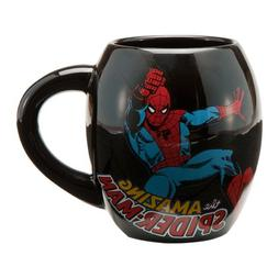 Vandor 26063 Spider Man Oval Ceramic Mug, Black, 18-Ounce