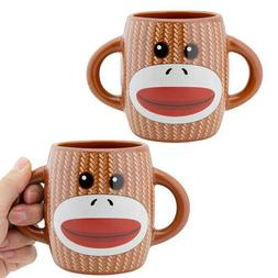 2pk Sock Monkey Coffee Mug Set Two-Handled Ceramic Mugs Nove