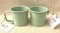 2X Fiddle + Fern Speckled Spring Green Enamel Metal Mugs Pic