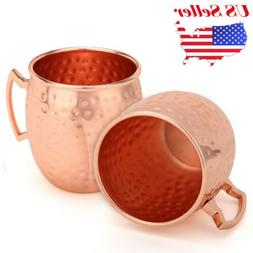 2x Hammered Moscow Mule Mug Drinking Cup 100% Pure Solid Cop