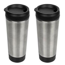 2x Stainless-Steel Travel Tumblers with Push Lids, 14 oz. In