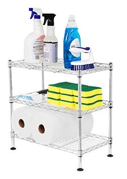 Internet's Best 3-Tier Mini Wire Utility Shelving | Chrome |