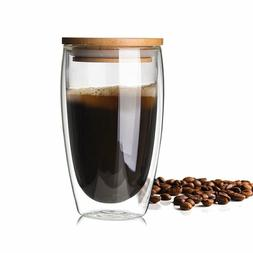 350/450ml Double Wall Glass with Bamboo Cup Lid Insulated Mu