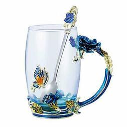 350ML Enamel Tea Cup Glass Coffee Mug Handmade Rose Flower T