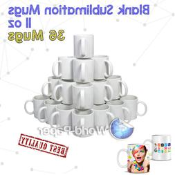 36x White Dye Sublimation Coffee Mug Cup - Dishwasher Proof