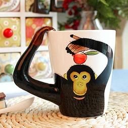 3D Coffee Mug Ceramics Cup With handle Painted Cat Animal