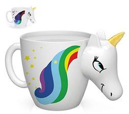 Color Changing Unicorn Mug - 3D Coffee Mugs Rainbow Design,