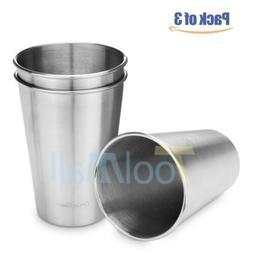 3PCS  500ML Stainless Steel Cup 16oz Tumbler Pint Glasse Met
