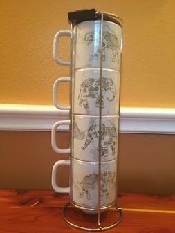 4 14oz elephant stacking porcelain coffee mugs
