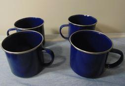 "4 Blue Mugs 16 oz. 4"" Tall Tin Enamelware good for camping b"