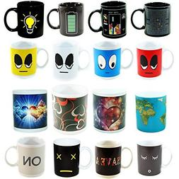 4 Heat Sensitive Color Changing Coffee Mugs, 11 OZ - Awesome