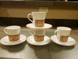 "4 Corning Corelle  SAND ART  MUGS  CUPS  3.5 "" free saucers"