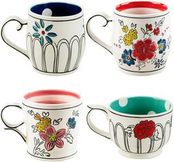 4 MOLLY HATCH FLOWER PATCH MUGS BY HOME ESSENTIALS