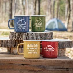 4 PACK OUTDOOR HAPPY CAMPER ADVENTURE COFFEE MUG SET - FREE