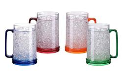 4 Set Of Inter Double Wall Gel Frosty Freezer Ice Mugs Clear