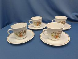 4 sets   vtg Corelle by CORNING INDIAN SUMMER coffee cups mu