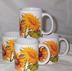 4 Sunflower Coffee Mugs Ceramic Country Kitchen Decor Sun Fl