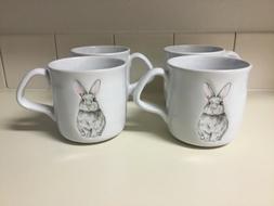 4 Williams Sonoma Mugs --- Embossed Bunny