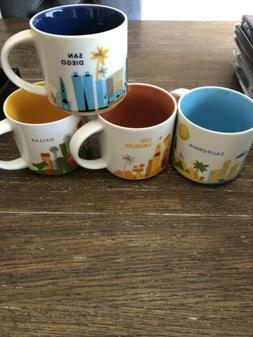 4 STARBUCKS YOU ARE HERE COLLECTION MUGS LOT CALI SAN DIEGO