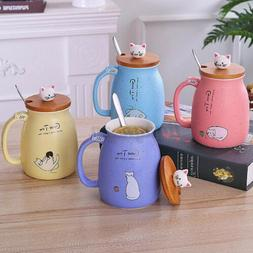 420ML Cat Ceramic Coffee Mug Tea Milk Water Cup Handle + Spo