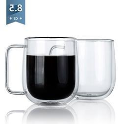 Sweese 4607 Glass Coffee Mugs - 8.5 Ounces Clear Espresso Cu