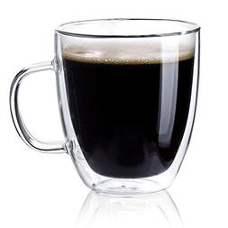 Sweese 4609 Large Glass Coffee Mugs - 16 oz Double Walled In