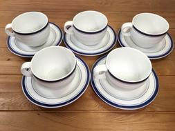 5 CRATE & BARREL PORCELAIN CUPS MUGS SAUCERS WHITE & BLUE ST