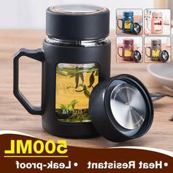 17oz 2IN1 Clear Glass Mug Tea Infuser Filter Travel Drink Co