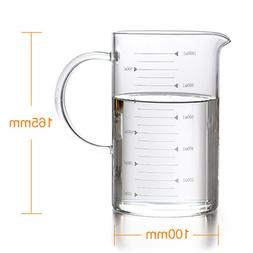 500ml Clear Heat-Resistant Glass Measuring Milk <font><b>Mug