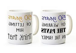 Funny 50th Anniversary Coffee Mug Set  - Wearing the Pants -