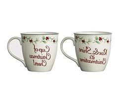 Pfaltzgraff 5184775 Winterberry Christmas Cheer Mugs, 20 oz,