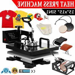 "5IN1 Combo T-Shirt Heat Press Transfer 15""x15"" Printing Mach"