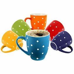 Coffee Mugs 6 Polka Dot Set 16oz Flat Bottom Porcelain Dinne