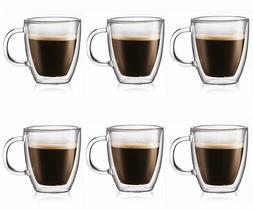 6 Double Wall Clear Insulated Glasses Tea Coffee Mugs Cups H