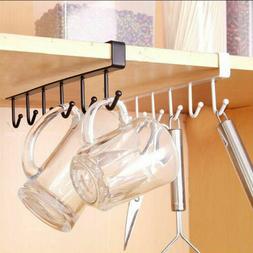 6 Hook Cup Holder Mug Hang Cabinet Shelf Organizer Storage R