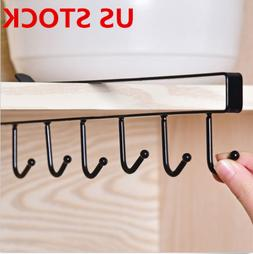 6 Hook Cup Holder Mug Hang Cabinet Shelf Organizer Storage R