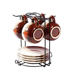 Yontree 6 Hooks Mugs Tree Cup Rack Dishes Organizer Style A