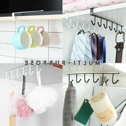 6 Hooks Under Cabinet Shelf Cup Mug Hanger Towel Paper Stora