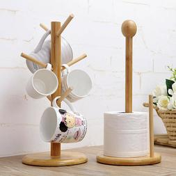 6 Hooks Wood Mug Rack Holder Tree Coffee Cup Storage Stand K