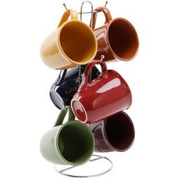 6 Mug Set With Rack Stoneware 15 Oz Coffee Cup Home Kitchen