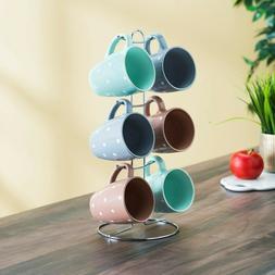 6 Piece Polka Dot Mug Set with Stand, Multi-Color Pastel