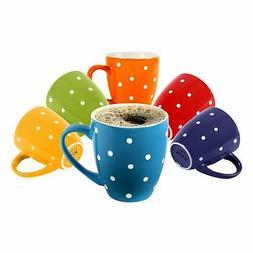 Klikel 6 Polka Dot Coffee Mugs Set | 16oz Flat Bottom Porcel