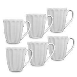 Klikel 6 White Fluted Mugs | 14oz Solid Flat Bottom Porcelai