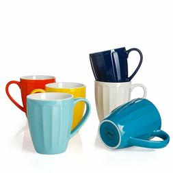 Sweese 602.002 Porcelain Fluted Mugs - 14 Ounce for Coffee,