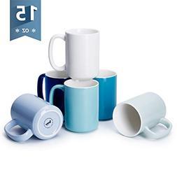 Sweese 608.003 Porcelain Mugs Set, 15 Ounce Large Handle Mug