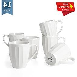 Sweese 6208 Porcelain Mugs - 14 Ounce for Coffee, Tea, Cocoa