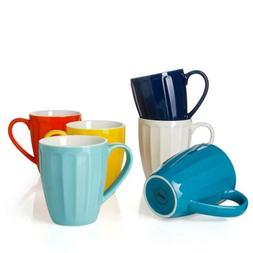 Sweese 6209 Porcelain Fluted Mugs 14oz Coffee Tea Cocoa 6 Co