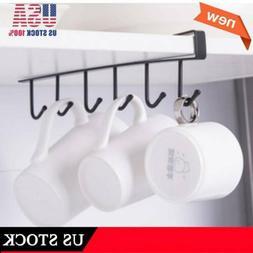 6Hook Under Shelf Coffee Cup Mug Holder Hanger Storage Rack